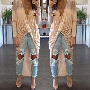Sexy Plunging Neck Curly Wrapped Pure Color Irregular Blouse For Women apricot