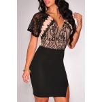 Sexy Plunging Neck Short Sleeve Lace Splicing Bodycon Dress For Women black