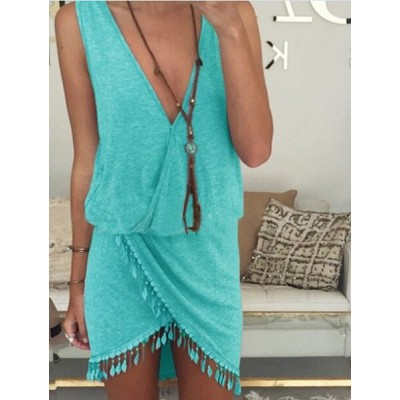 Sexy Plunging Neck Sleeveless Asymmetrical Dress For Women BLACK, BLUE, LAKE BLUE