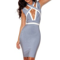 Sexy Plunging Neck Sleeveless Color Block Criss-Cross Bandage Dress For Women blue