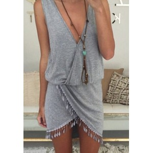 Sexy Plunging Neck Sleeveless Fringe Design Asymmetrical Dress For Women gray