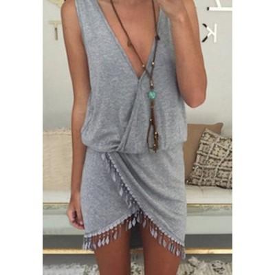 Sexy Plunging Neck Sleeveless Fringe Design Asymmetrical Dress For Women gray