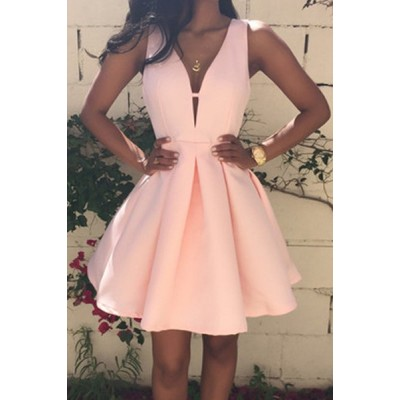 Sexy Plunging Neck Sleeveless Solid Color Zippered Dress For Women pink