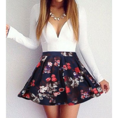 Sexy Plunging Neckline Floral Print Long Sleeve Dress For Women black white