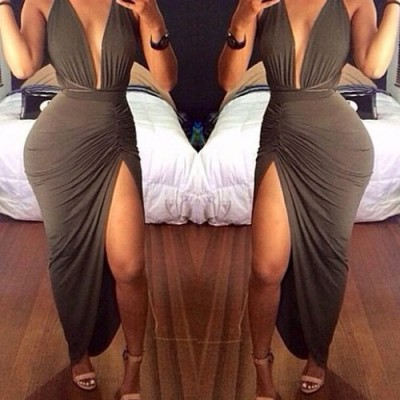 Sexy Plunging Neckline Sleeveless Solid Color Side Slit Dress For Women red army green