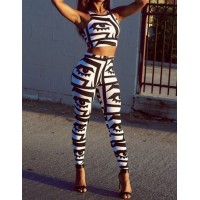 Sexy Printed Jewel Neck Stretchy Suit For Women black white