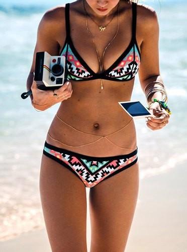 ec18127d67fba Sexy Push Up Spaghetti Strap Geometric Bikini Set For Women Zoom. Product  ...