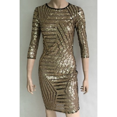 Sexy Round Collar 3/4 Sleeve Sequined See-Through Dress For Women gold