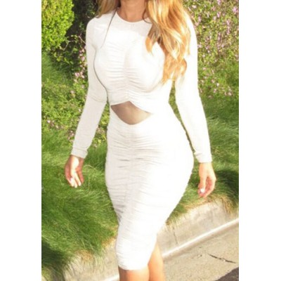 Sexy Round Collar Long Sleeve Solid Color Hollow Out Ruffled Dress For Women white