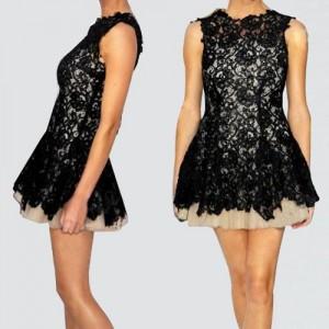 Sexy Round Collar Sleeveless Flower Pattern Backless Dress For Women black