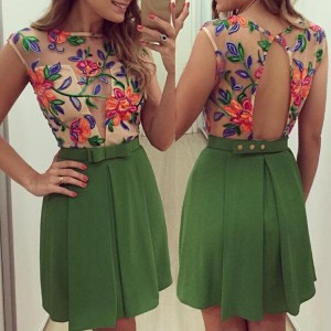 Sexy Round Collar Sleeveless Flower Pattern See-Through Dress For Women green