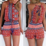 Sexy Round Collar Sleeveless Printed Hollow Out Romper For Women red blue