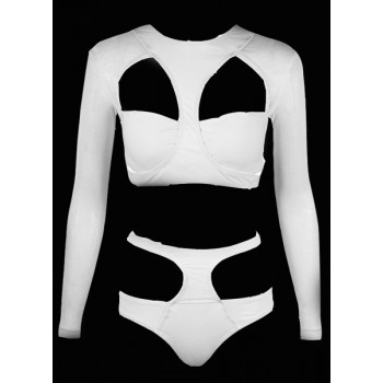 Sexy Round Neck Long Sleeve Solid Color Hollow Out Swimsuit For Women black white