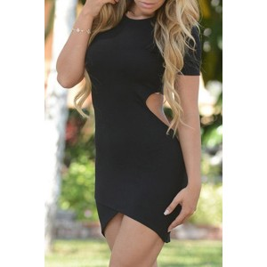Sexy Round Neck Short Sleeve Hollow Out Asymmetrical Women's Bodycon Dress black