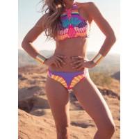 Sexy Round Neck Sleeveless Printed Bikini Set For Women red purple