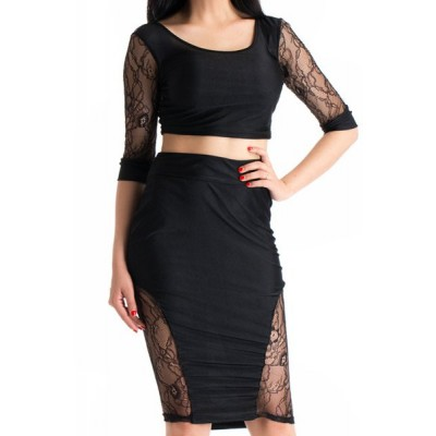 Sexy Scoop Collar Half Sleeve Crop Top + High-Waisted See-Through Skirt Twinset For Women black
