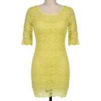 Sexy Scoop Collar Half Sleeve Solid Color Backless Lace Dress For Women YELLOW