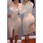 Sexy Scoop Collar Long Sleeve See-Through Hollow Out Dress For Women white
