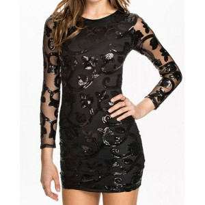 Sexy Scoop Collar Long Sleeve See-Through Sequined Club Dress For Women black