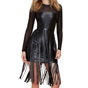Sexy Scoop Collar Long Sleeve Spliced Fringe Design Dress For Women black