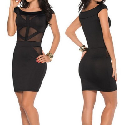 Sexy Scoop Collar Short Sleeve Spliced See-Through Dress For Women black