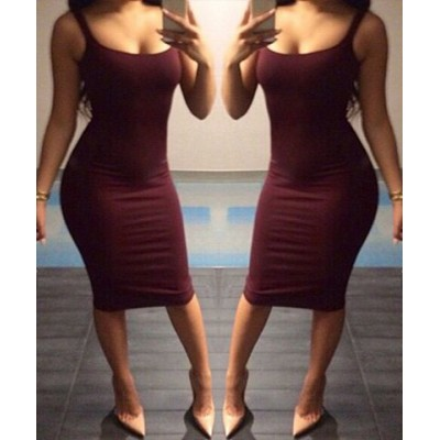 Sexy Scoop Collar Sleeveless Solid Color Bodycon Dress For Women wine red