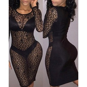 Sexy Scoop Neck Long Sleeve See-Through Hollow Out Dress For Women black