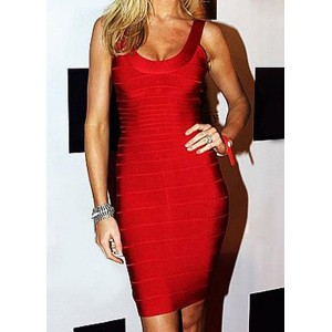Sexy Scoop Neck Red Open Back Bodycon Bandage Dress For Women red