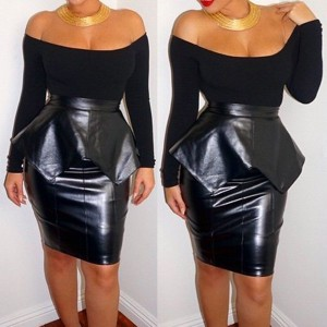 Sexy Slash Collar Long Sleeve Spliced Solid Color Club Dress For Women black