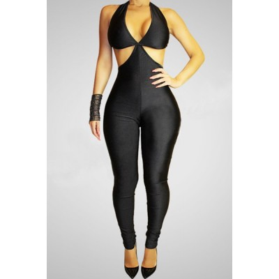 Sexy Sleeveless Halter Solid Color Backless Lace-Up Jumpsuit For Women black