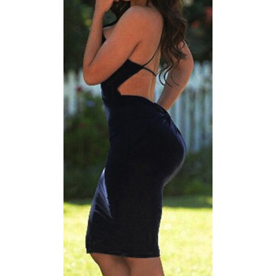 Sexy Spaghetti Strap Backless Solid Color Party Dress For Women black apricot