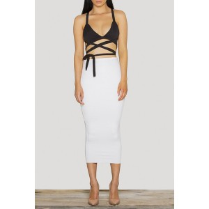Sexy Spaghetti Strap Bandage Backless Crop Top + Bodycon Midi Skirt Women's Twinset KHAKI, OFF-WHITE, WHITE