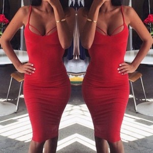 Sexy Spaghetti Strap Sleeveless Solid Color Cut Out Backless Dress For Women red black white