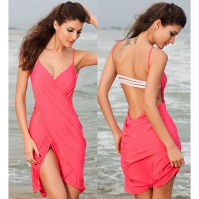 Sexy Spaghetti Strap Solid Color Backless Cover Up For Women red