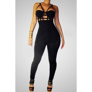 Sexy Spaghetti Strap Solid Color Hollow Out Jumpsuit For Women black white