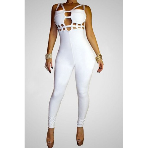9e949c1b0b7 Sexy Spaghetti Strap Solid Color Hollow Out Jumpsuit For Women black white