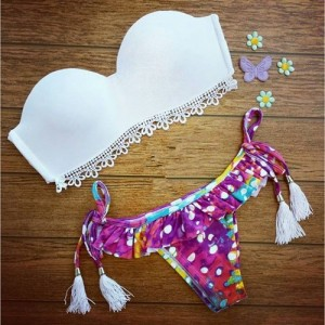 Sexy Strapless Fringed Ruffled Bikini Set For Women pink white