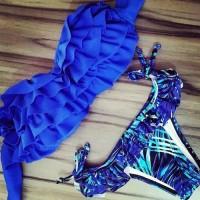 Sexy Strapless Printed Flounced Layered Bikini Set For Women blue