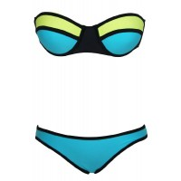 Sexy Strapless Push Up Color Block Bikini Set For Women
