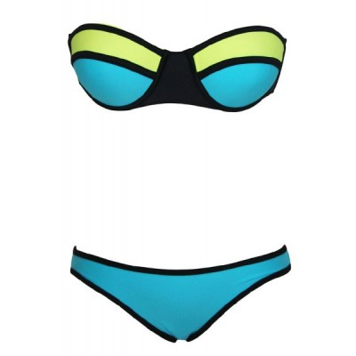 Sexy Strapless Push Up Color Block Bikini Set For Women