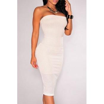 Sexy Strapless Sleeveless Bodycon Slit Dress For Women white black