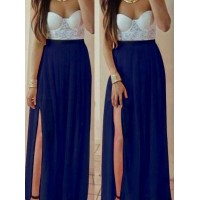 Sexy Strapless Sleeveless Chiffon Spliced High Slit Maxi Dress For Women blue khaki