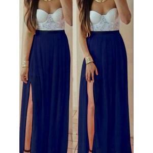 Sexy Strapless Sleeveless Chiffon Spliced High Slit Maxi Dress For Women blue khaki