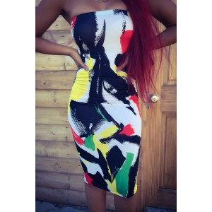 Sexy Strapless Sleeveless Printed Midi Dress For Women