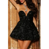 Sexy Strapless Sleeveless Pure Color Sequined Dress For Women black