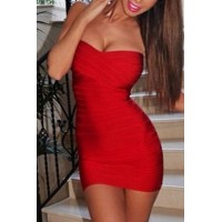 Sexy Strapless Sleeveless Solid Color Bandage Dress For Women red