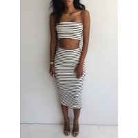 Sexy Strapless Sleeveless Striped Tube Top + High-Waisted Skirt Twinset For Women white black