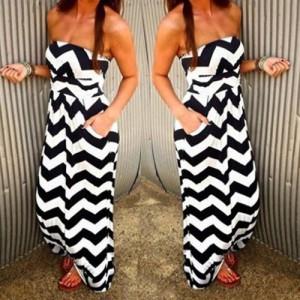 Sexy Strapless Sleeveless Wave Print Pocket Design Dress For Women white black