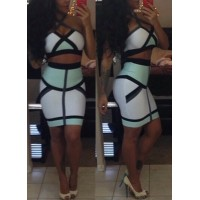 Sexy Strappy Color Block Crop Top and Bodycon Skirt Suit For Women green white