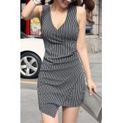 Sexy Stripe V-Neck Sleeveless Dress For Women